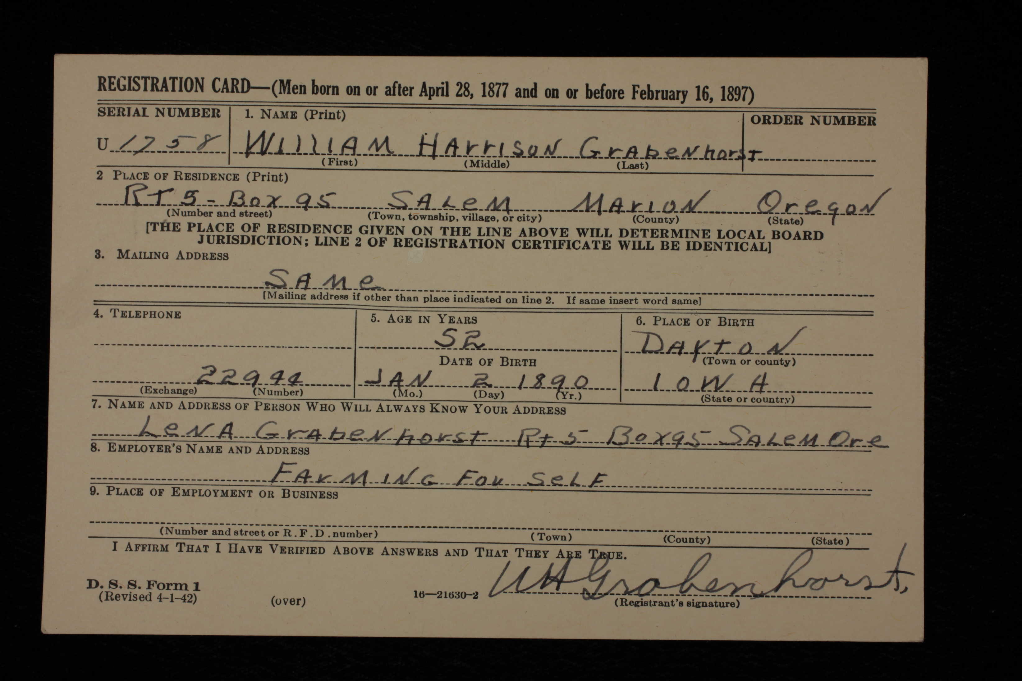 NAME: William Harrison Grabenhorst BIRTH DATE: 2 Jan 1890. BIRTH PLACE:  Dayton, Iowa, USA RESIDENCE: Salem, Oregon, USA RACE: White