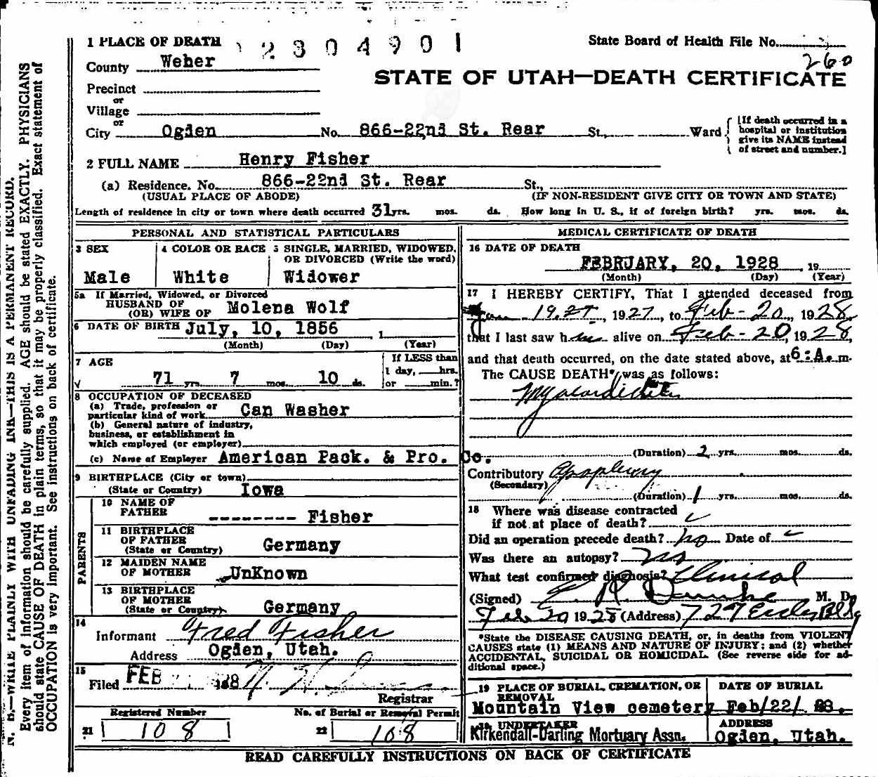 Descendents of henry george grabenhorst henry fisher utah death index 1betcityfo Choice Image