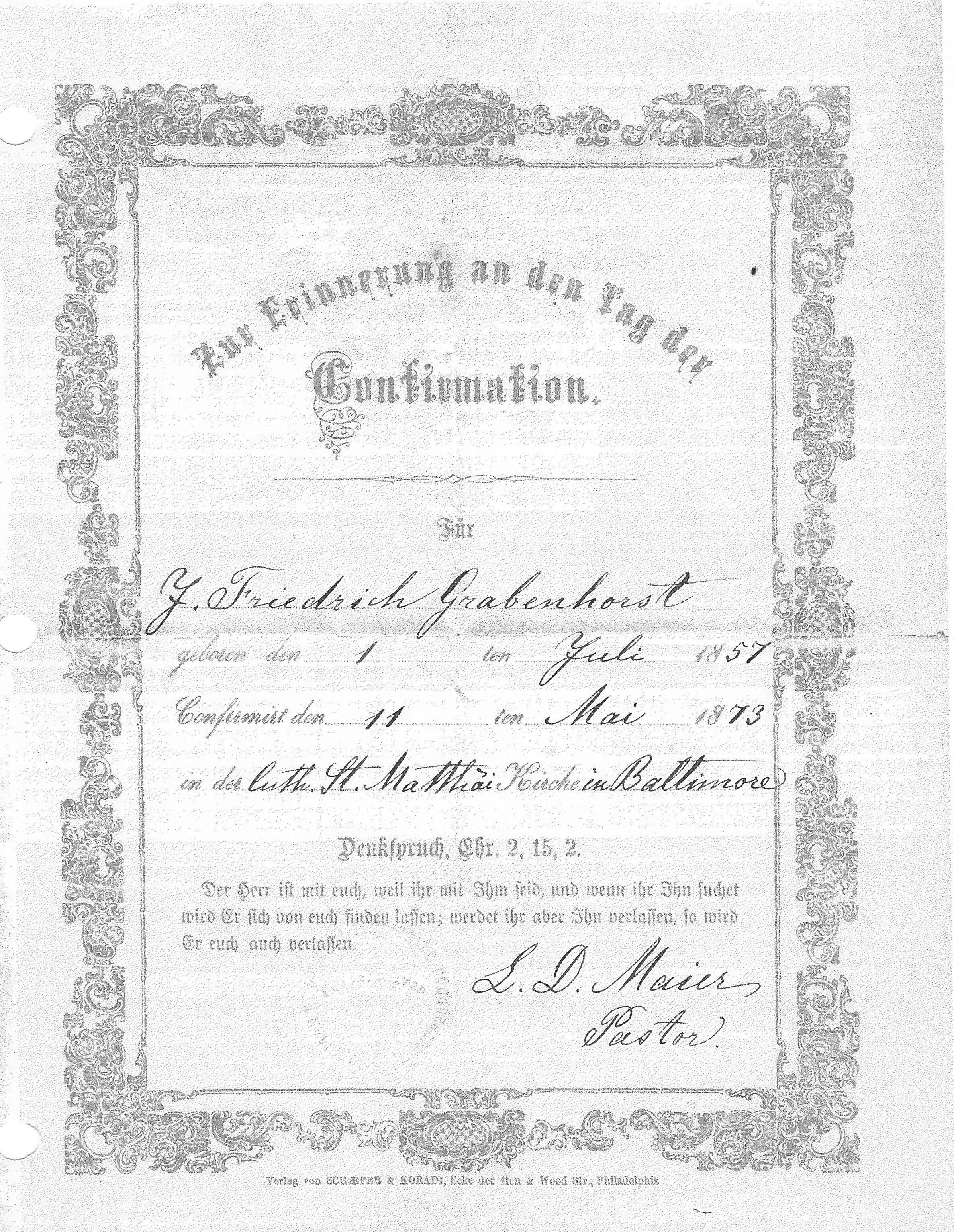 Descendents of henry george grabenhorst henry christian grabenhorst confirmation certificate j friedrich grabenhorst born 1 july 1857 confirmed 11 mar 1873 st matthew lutheran church baltimore maryland aiddatafo Image collections