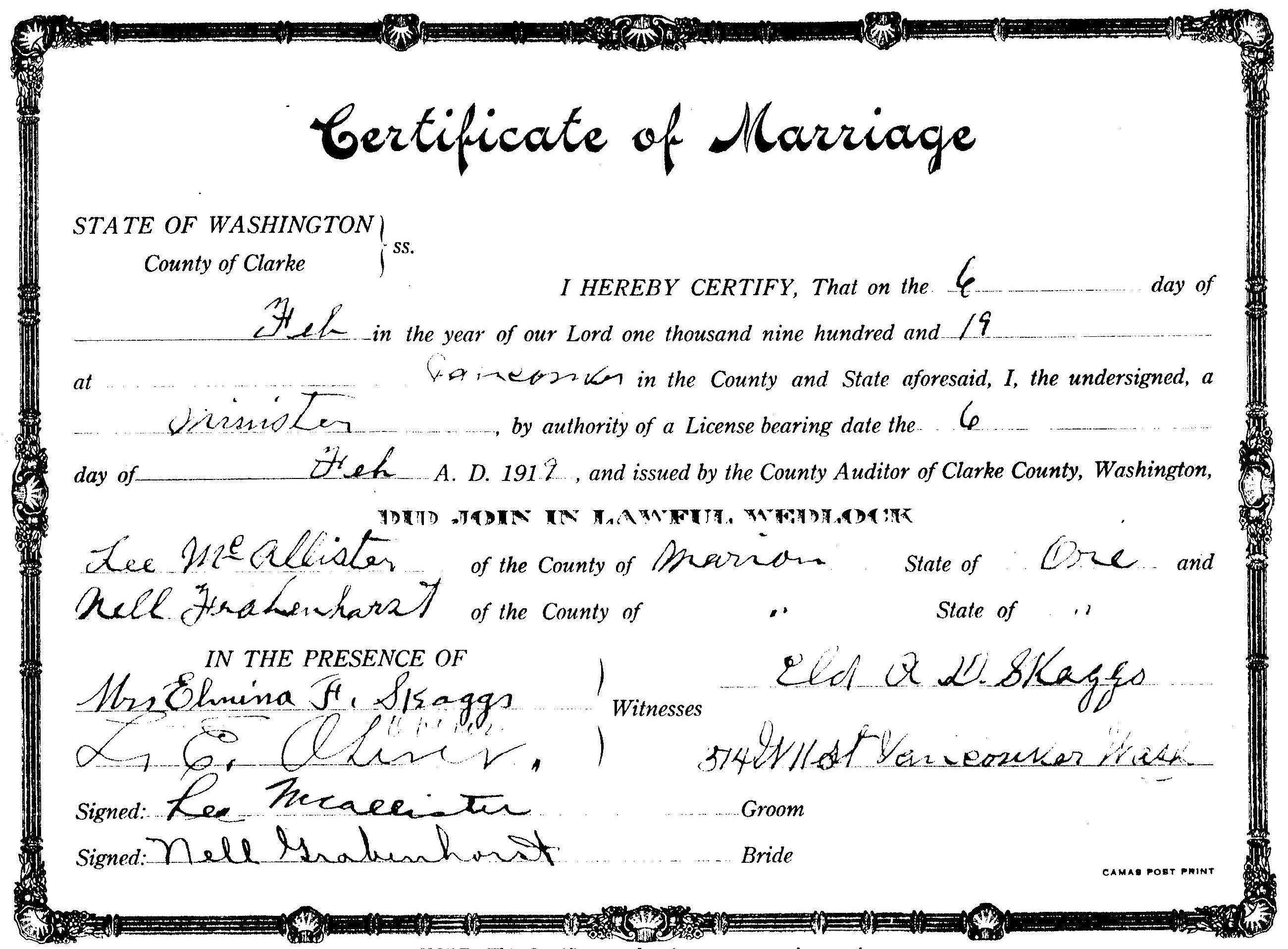 Descendents of henry george grabenhorst nell caroline grabenhorst oregon marriage certificate name nell grabenhorst name lee mcallister marriage date 6 feb1919 xflitez Image collections
