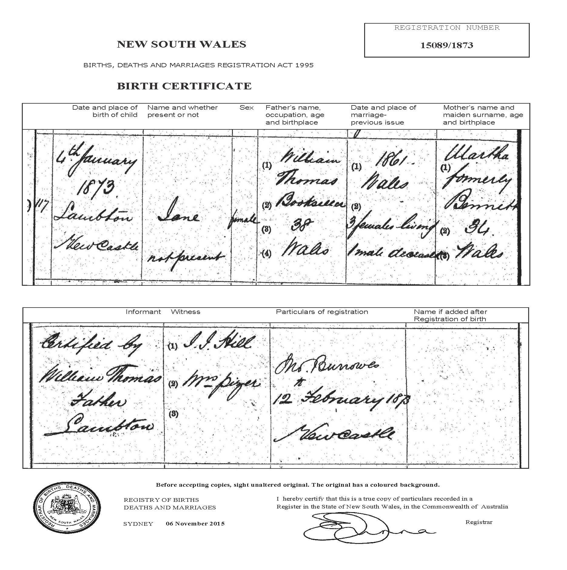 William thomas and martha jane bennett documents birth certificate 1betcityfo Gallery